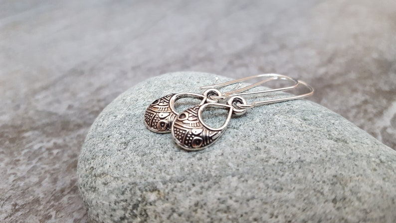 Antique Silver Tiny Drop Earrings Nature Inspired ** Sterling Silver Silver Teardrop Earrings Tribal Earrings Unique Gift for her