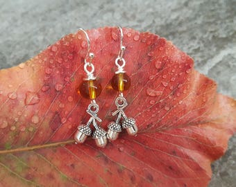 Silver Acorn and Amber Glass Earrings, Silver Acorn Earrings, Silver Plated Sterling Silver Earrings, Gift for her, Nature Inspired Jewelry