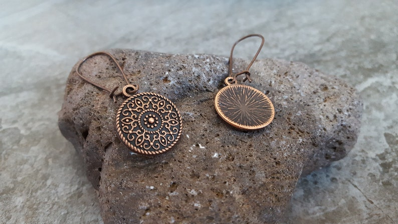 Copper Flower Disc Earrings Bohemian Jewelry,Unique Gift for her** Flower of Life Earrings Antique Copper Nature Textured Drop Earrings
