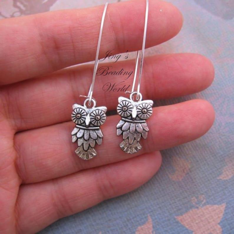 Wise Owl Silver Earrings Tibetan Silver Rustic Antique image 0