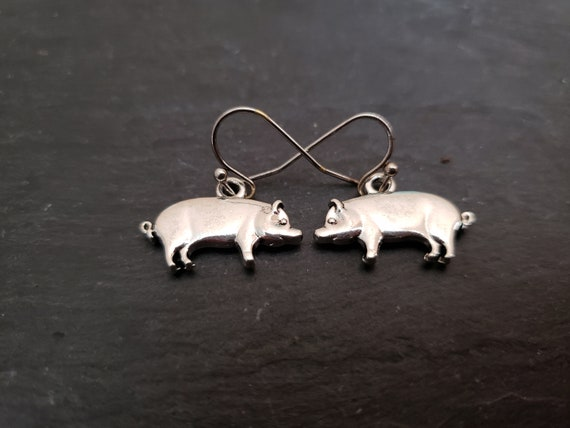 Silver Pig Earrings Pig Jewelry Farm Animals 3d Piggy Earrings Sterling Silver Earwire Unique Gift Ideas For Her Jingsbeadingworld