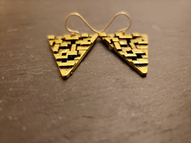 Filigree Textured Statement Earrings Antique Gold Triangle Drop Gold Filled Earrings Geometric Gift For Her 14K Gold Filled Earwire