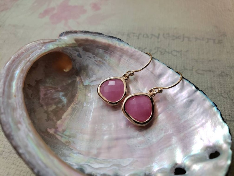Minimalist Jewelry Pink Faceted Glass Bezel Drop Gold Filled Earrings jingsbeadingworld Cherry Quartz Pink Unique Gift Ideas For Her