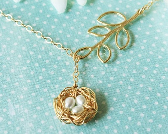 Golden Bird Nest / Leaf Lariat Necklace - 14k Gold Fill White Pearl Nest of 1, 2, 3, 4, 5, 6 or 7 Eggs - Mother To Be / Mother's Day Gift