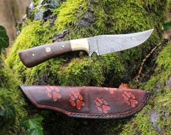 Damascus knife with leather sheath