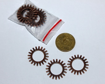 Set of 12 25mm gear, copper charms