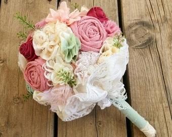 Fabric wedding bouquet , bridal bouquet , mint bouquet, rose bouquet