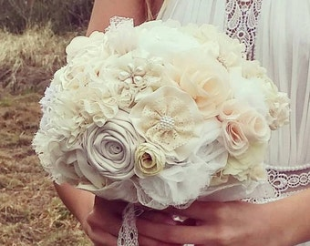 Wedding bouquet, bridal bouquet, ivory bouquet , neutral bouquet, champagne bouquet, fabric flowers bouquet