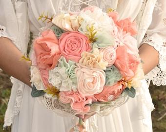 Wedding bouquet, fabric flowers, peach coral mint bouquet, rustic wedding, boho wedding
