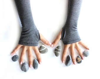 Gray gloves, grey arm warmers, finger less gloves, mittens, free shipping