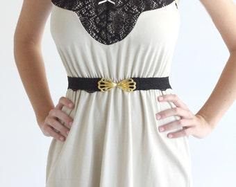 Black waist belt with gold butterfly buckle lace belt