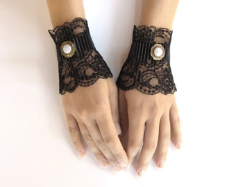 Black lace gloves lace mittens black short cuffs