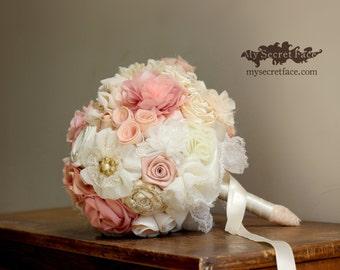 Bridal bouquet, ivory pink bouquet, wedding bouquet