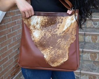 Leather tote,fur tote bag,brown leather tote,leather tote bag,fur purses,country leather bag,laptop tote bag,luxury leather bag,brown purses