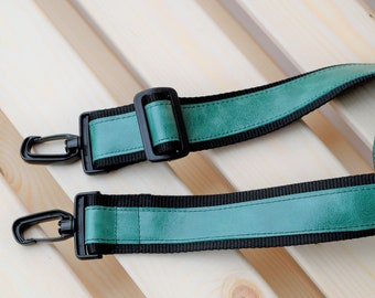 Green strap,leather straps,leather replacement,crossbody straps,replacement strap,leather purse strap,nylon strap,green leather strap