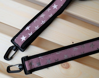 Pink leather strap,leather straps,stars suede strap,crossbody straps,replacement strap,leather purse strap,nylon strap,pink leather belt