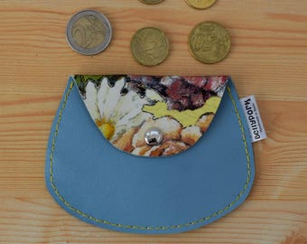 Leather coin purse,leather change purse,floral coin purse,change purse leather,blue coin purse,womens coin purse,minimal purse,flower print