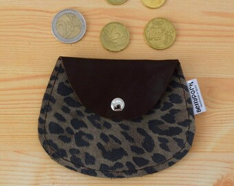 Leather coin purse,leopard coin purse,leather change purse,suede leather,animal print,brown coin purse,womens coin purse,minimal purse