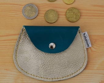 Leather coin purse,golden coin purse,leather change purse,aquamarine leather,gold leather,gold coin purse,womens coin purse,minimal purse