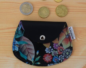 Leather coin purse,leather change purse,floral coin purse,change purse leather,red coin purse,womens coin purse,minimal purse,flowers print