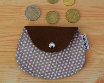 Leather coin purse,leather change purse,suede coin purse,change purse leather,brown coin purse,womens coin purse,minimal purse,polka dot