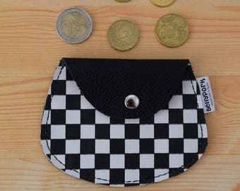 Leather coin purse,leather change purse,checkerboard,change purse leather,squares coin purse,skater coin purse,mens coin purse,minimal purse