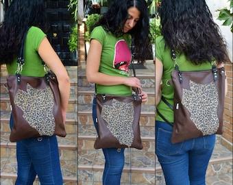 Convertible backpack,convertible purse,convertible tote,leather backpack,leather tote bag,leather purse,brown leather purse,leopard tote bag