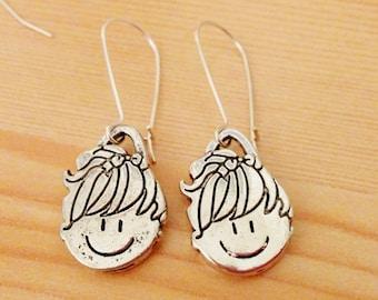 Doll earrings, little girl earrings, toy earrings earrings, long earrings,dangle earrings, girl earrings, baby earring