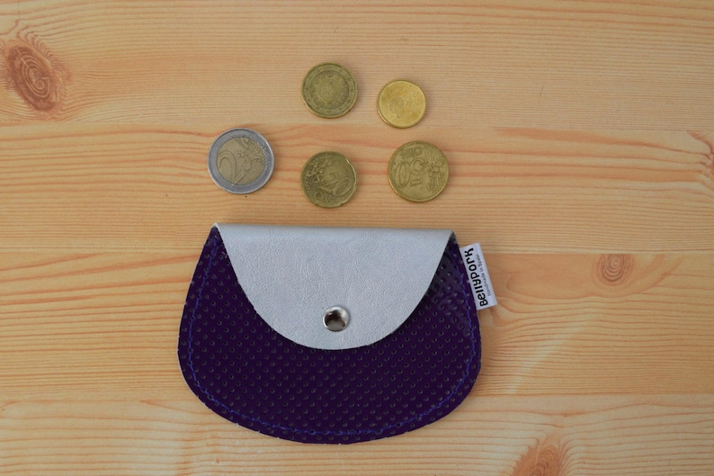 Leather coin purseleather change pursepurple coin image 0