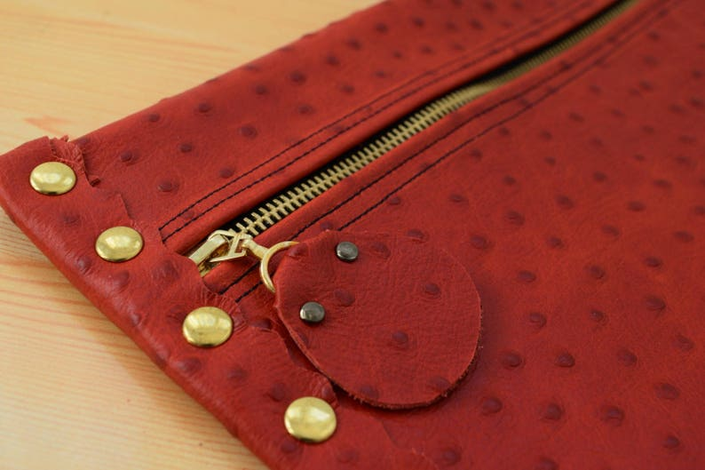 Leather clutchred leather purseleather purse bagostrich image 0