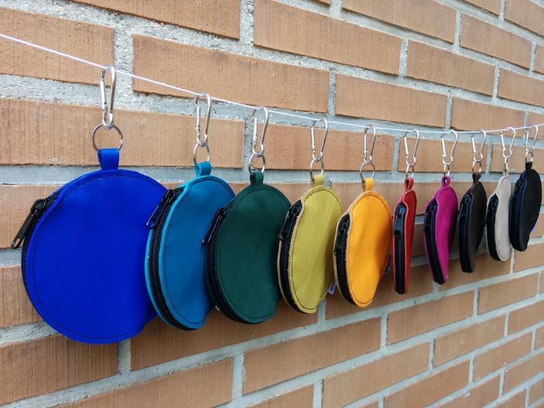 Belt bag,waist bag,leather fanny pack,turquoise purse,belt purse,circle purse,blue leather bag,leather purse bag,hook coin purse,hook purse