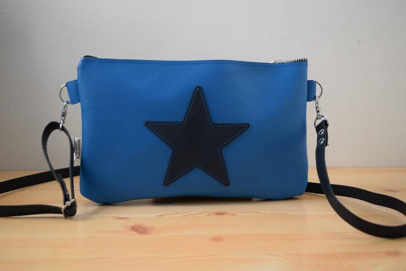 Leather purse bagstar handbagblue leather purseleather blue image 0