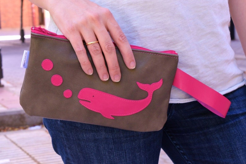 Leather pouchocean print pouchmakeup bagwhale printleather image 0