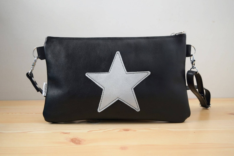 Star purse bagleather handbagblack leather purseleather image 0