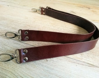 Leather straps,set of straps,leather purse straps,brown straps,brown leather strap,fixed length strap,wide straps,wide leather strap