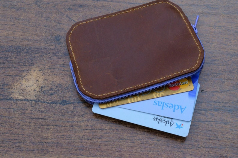 Leather coin purse small purse card holder small coin purse leather wallet,brown purse zippered wallet card purse zippered coin purse