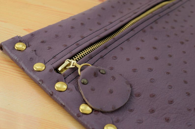 Leather clutchpurple leather purseleather purse bagostrich image 0