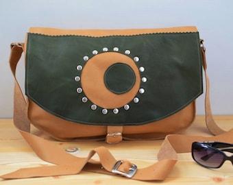 Leather handbag,leather bag,leather messenger,hipster bag,brown leather bag,leather tote,rivets purse,leather purse green,unisex crossbody