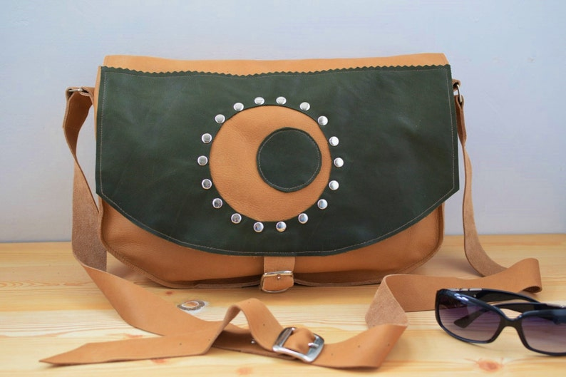 Leather handbagleather bagleather messengerhipster image 0