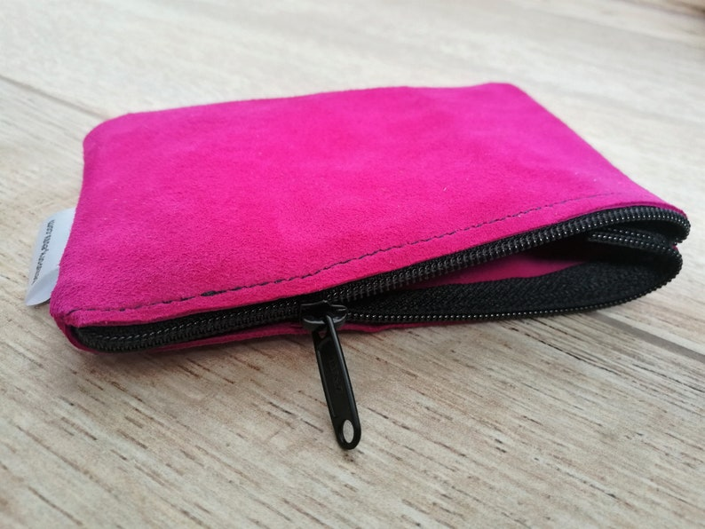 Pink coin pursezippered coin pursesuede coin pursezippered image 0