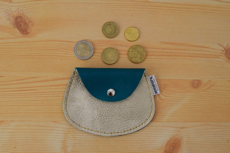 Leather coin pursegolden coin purseleather change image 0