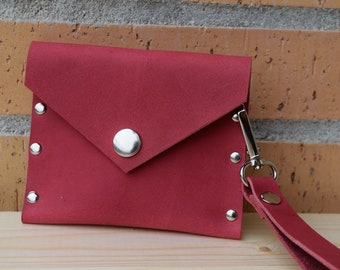 Leather change purse,red wallet,leather wallet,leather keychain wallet,keychain purse,leather coin purse,red coin purse,snap coin purse