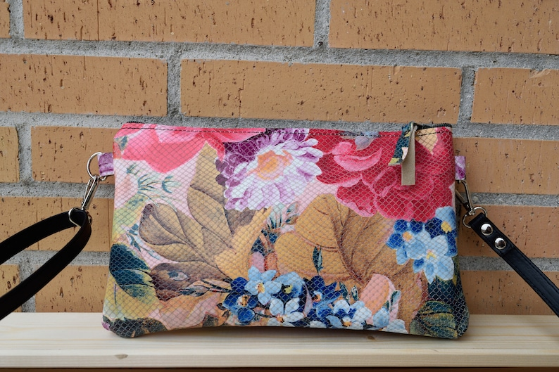 Leather handbagleather clutch leather purseflowers image 0