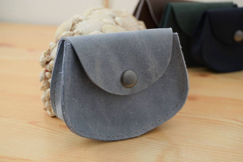 Change purseleather coin pursegray coin pursepocket coin image 0