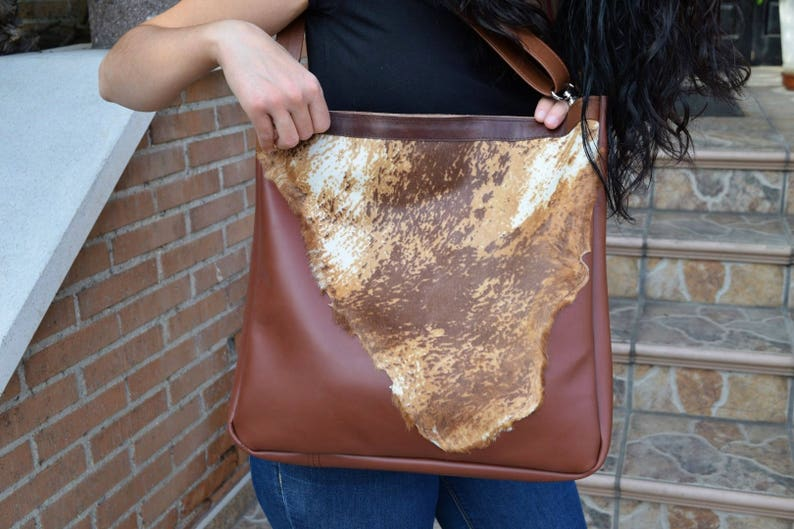 Leather totefur tote bagbrown leather toteleather tote image 0
