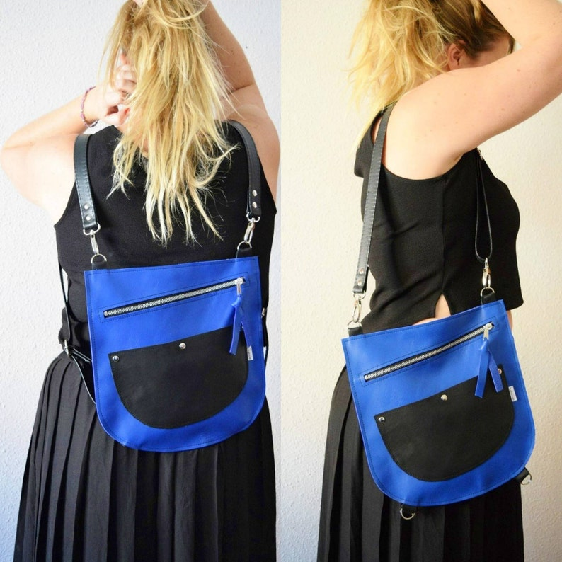 Leather backpackleather bagconvertible purseblue leather image 0