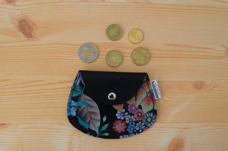Leather coin purseleather change pursefloral coin image 0