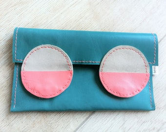 Leather wallet case,leather case,leather phone case,leather coin purse,leather pouch,turquoise leather,turquoise pink,leather iphone case