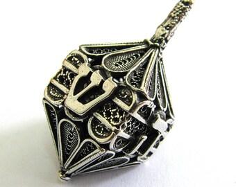 Dreidel, Hanukkah Game, 925 Sterling Silver, Handmade Gift, Filigree, Handmade, Judaica, Jewish, Hanukkah Dreidel, Silver Dreidel, ID932