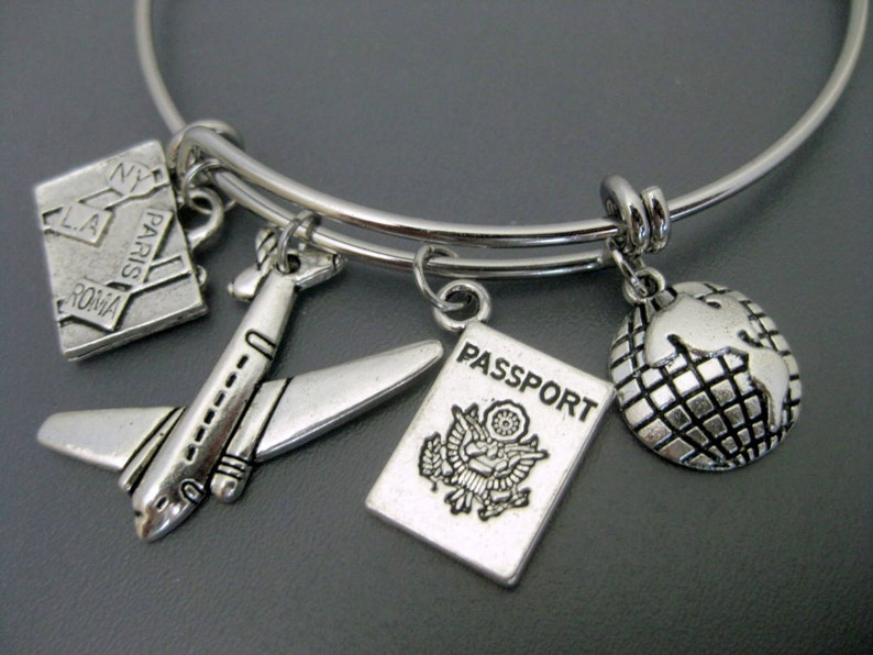 Airplane Charm Bracelet / Travel Bangle / Flight Attendant image 2